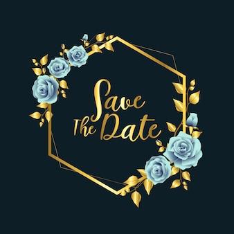 Niebieska róża złota rama ślubu