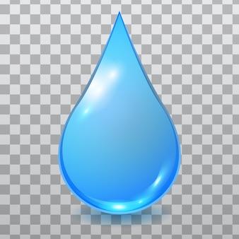 Niebieska rozszerzona kropla wody na białym tle na tle kratkę
