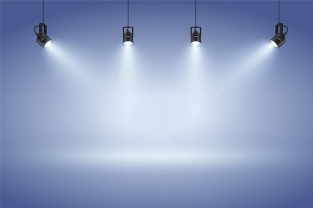 Niebieska ściana z tłem światła punktowe