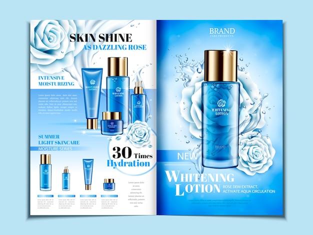Niebieska, składana broszura o tematyce kosmetycznej z różami, może być również używana w katalogach lub czasopismach