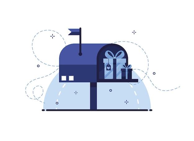 Niebieska skrzynka pocztowa z pudełkami prezentowymi w płaskiej konstrukcji