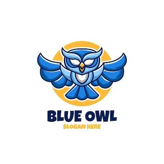 Niebieska sowa kreatywne kreskówka logo maskotka esport zwierząt projekt