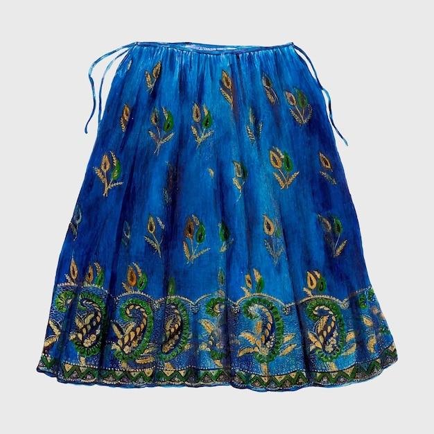 Niebieska spódnica w stylu vintage, remiks z grafiki autorstwa ann gene buckley