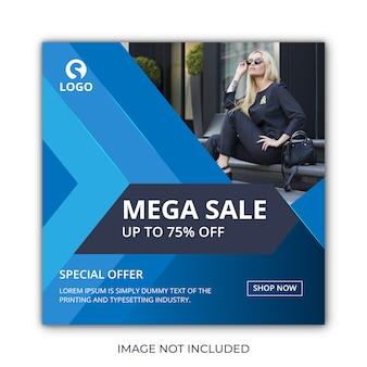 Niebieska sprzedaż post lub szablon banera w mediach społecznościowych