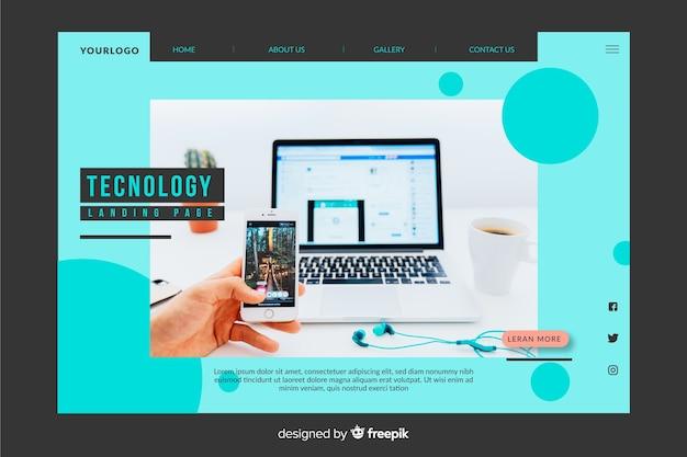Niebieska strona docelowa technologii ze zdjęciem