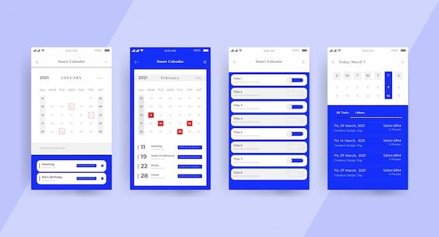 Niebieska strona koncepcji interfejsu użytkownika aplikacji kalendarza