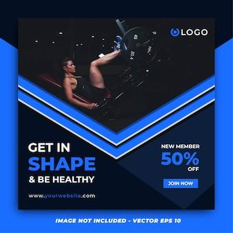 Niebieska strzałka fitness szablon mediów społecznościowych post