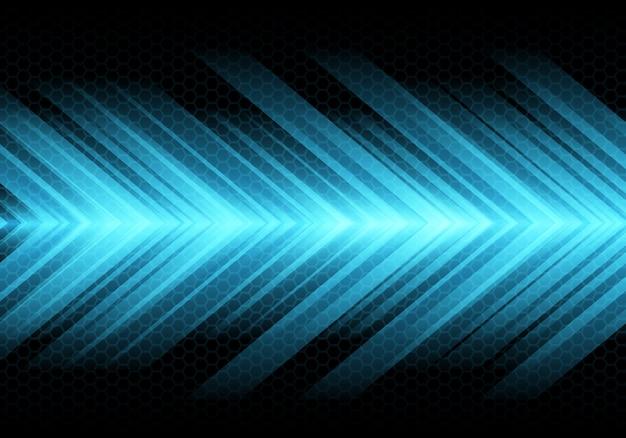 Niebieska strzałka prędkości światła na tle ciemnego sześciokąta siatki.