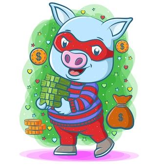 Niebieska świnia złodzieja używa czerwonej maski i trzyma dużo pieniędzy