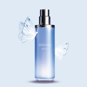 Niebieska szklana butelka z rozpylaczem