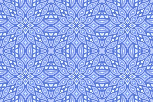 Niebieska sztuka z abstrakcyjnym orientalnym wzorem bez szwu