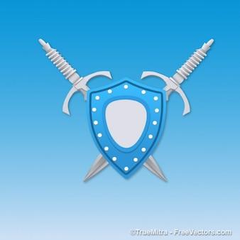 Niebieska tarcza z mieczami