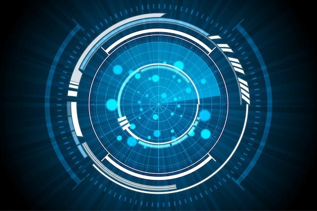 Niebieska technologia inside spaceship radar background