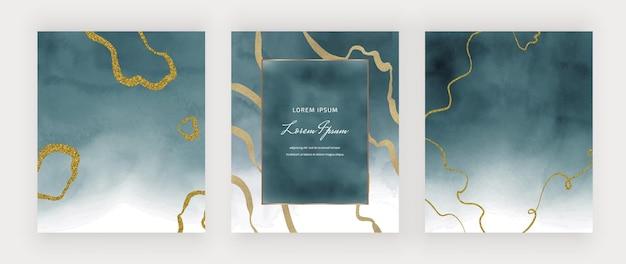 Niebieska tekstura akwarela ze złotymi brokatowymi liniami odręcznymi i ramką