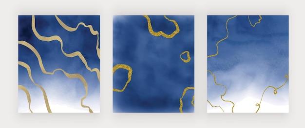 Niebieska tekstura akwarela ze złotymi brokatowymi liniami odręcznymi