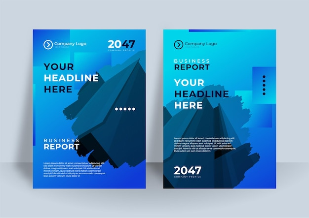 Niebieska tożsamość korporacyjna obejmuje projekt wektor biznes. ulotka broszura reklamowa streszczenie tło