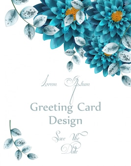 Niebieska turkusowa karta kwiaty akwarela