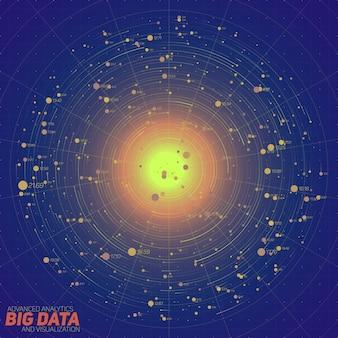 Niebieska wizualizacja big data. futurystyczna plansza. estetyka informacji. wizualna złożoność danych. złożona grafika wątków danych. reprezentacja w sieciach społecznościowych. abstrakcyjny wykres danych.