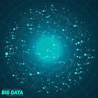 Niebieska wizualizacja big data. futurystyczna plansza