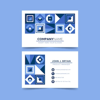Niebieska wizytówka w kształcie diamentów i kwadratów