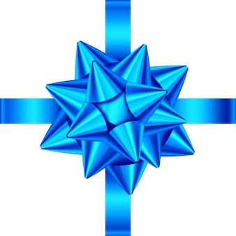 Niebieska wstążka satynowa prezent i łuk na białym tle