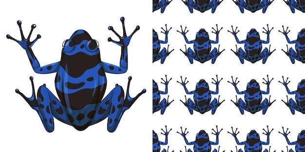 Niebieska żaba poison dart na białym tle na białym tle i bez szwu