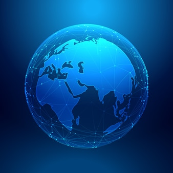 Niebieska ziemia na siatce sieci szkieletowej