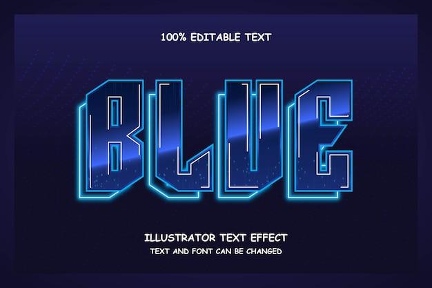 Niebieski, 3d edytowalny tekst efekt stylu neon nowoczesny wzór