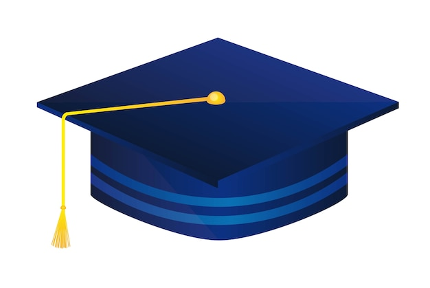 Niebieski absolwent kapelusz na białym tle