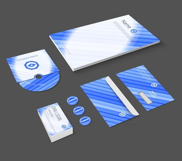 Niebieski abstrakcyjna biznesowych firmy piśmiennicze szablonu dla korporacyjnych tożsamości i marki zestaw odizolowane ilustracji wektorowych