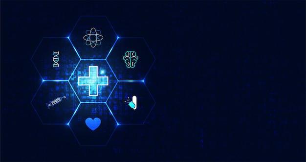 Niebieski abstrakcyjny obraz z futurystyczną nowoczesną nauką