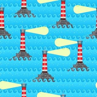 Niebieski abstrakcyjny wzór bez szwu z falami morza i latarniami morskimi