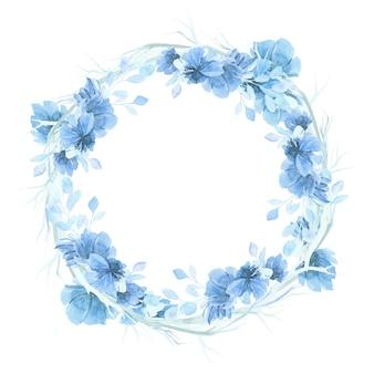 Niebieski akwarelowy kwiatowy wieniec tła