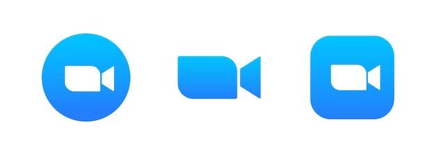 Niebieski aparat ikona zestaw logo. aplikacja do strumieniowego przesyłania multimediów na żywo na telefon, wideokonferencje. wektor na na białym tle. eps 10