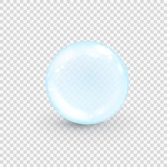 Niebieski bąbelek kolagenu na przezroczystym tle. realistyczna kropla serum wody.