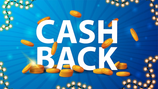 Niebieski baner cashback z dużym nagłówkiem, złotymi monetami spadającymi z góry i ramą wianek