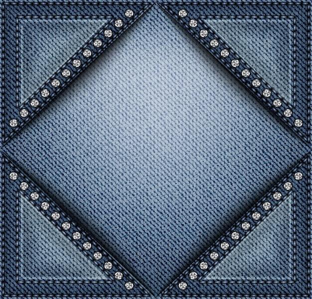 Niebieski baner dżinsowy z trójkątnymi kieszeniami z przeszyciami i cekinami.