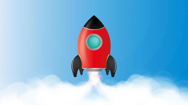 Niebieski baner na temat motywacji. startuje czerwona rakieta.