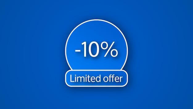 Niebieski baner z limitowaną ofertą z 10% rabatem. białe cyfry na niebieskim tle z cieniem. ilustracja wektorowa