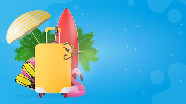 Niebieski baner z miejscem na tekst podróży. czerwona deska surfingowa, żółta walizka turystyczna, płetwy, maska do pływania, gogle, palmy, parasol przeciwsłoneczny, gumowy pierścień do pływania.