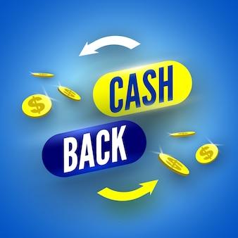 Niebieski baner zwrotu gotówki z monetami.