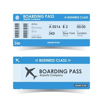 Niebieski bilet na kartę pokładową.