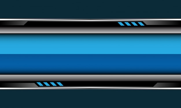Niebieski błyszczący transparent srebrny czarny obwód cyber na szarym tle futurystyczny.