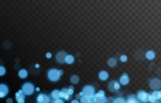 Niebieski bokeh na izolowanym przezroczystym tle efekt świetlny png rozmazany bokeh png