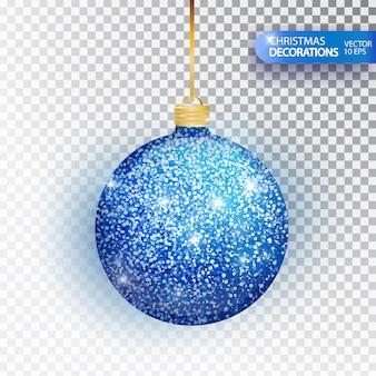 Niebieski brokat christmas cacko na białym tle. bal musujący brokat, świąteczna dekoracja.