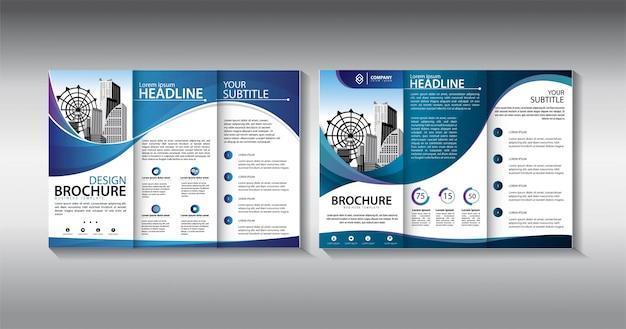 Niebieski broszura trifold szablon biznes