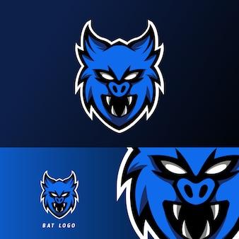 Niebieski ciemny nietoperz wampir maskotka sport logo szablon e-sport