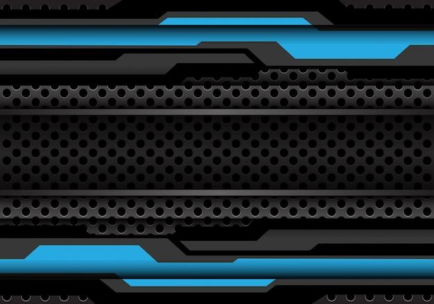 Niebieski ciemny szary wielokąt cyber na tle siatki koło.
