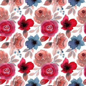 Niebieski czerwony kwiat akwarela bezszwowe wzór