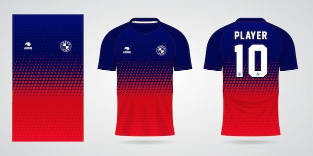 Niebieski czerwony szablon koszulki sportowej do strojów drużynowych i projektowania koszulek piłkarskich